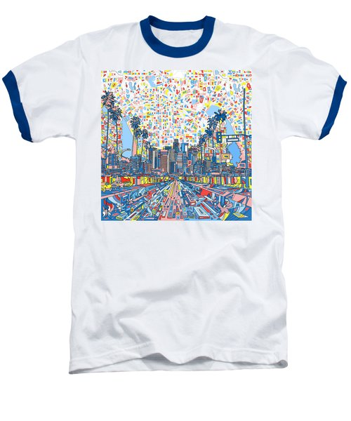 Los Angeles Skyline Abstract 3 Baseball T-Shirt by Bekim Art