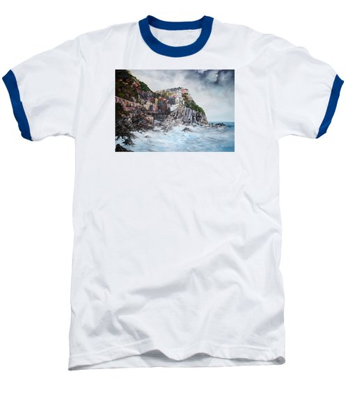 Manarola Italy Baseball T-Shirt by Jean Walker