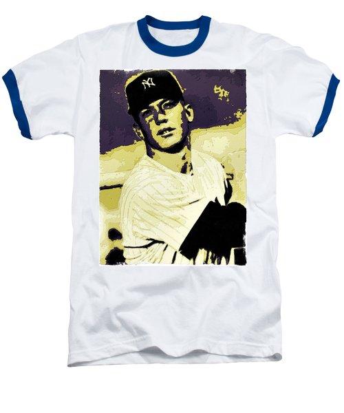 Mickey Mantle Poster Art Baseball T-Shirt by Florian Rodarte