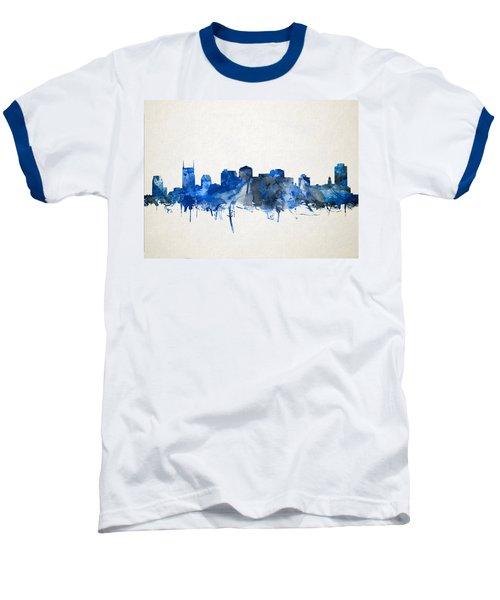 Nashville Skyline Watercolor 11 Baseball T-Shirt by Bekim Art