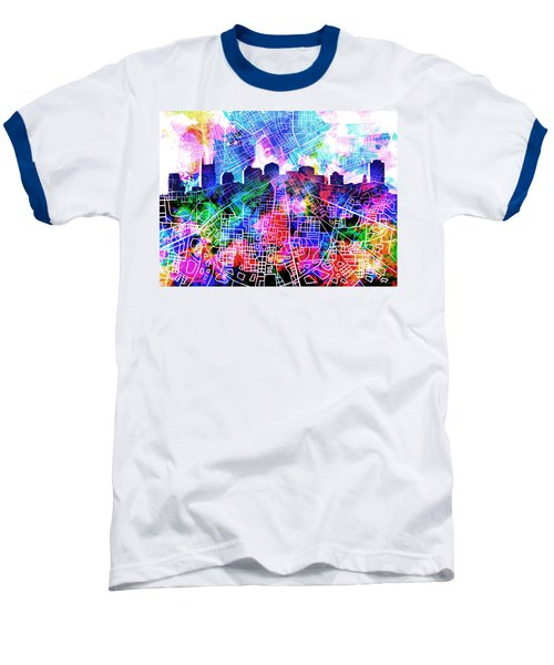 Nashville Skyline Watercolor 5 Baseball T-Shirt by Bekim Art