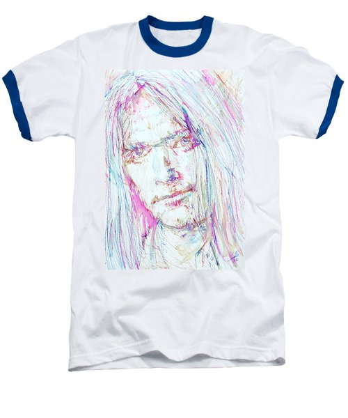 Neil Young - Colored Pens Portrait Baseball T-Shirt by Fabrizio Cassetta