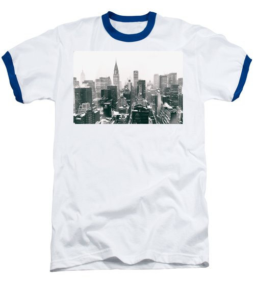 New York City - Snow-covered Skyline Baseball T-Shirt by Vivienne Gucwa