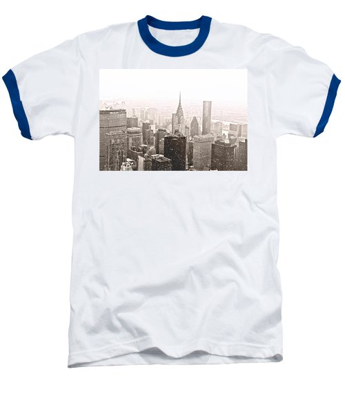 New York Winter - Skyline In The Snow Baseball T-Shirt by Vivienne Gucwa