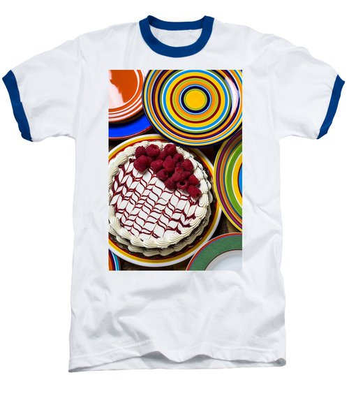 Raspberry Cake Baseball T-Shirt by Garry Gay
