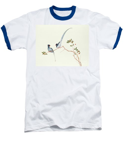 Red Billed Blue Magpies On A Branch With Red Berries Baseball T-Shirt by Chinese School