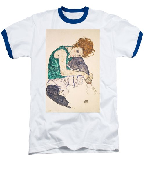 Seated Woman With Legs Drawn Up. Adele Herms Baseball T-Shirt by Egon Schiele