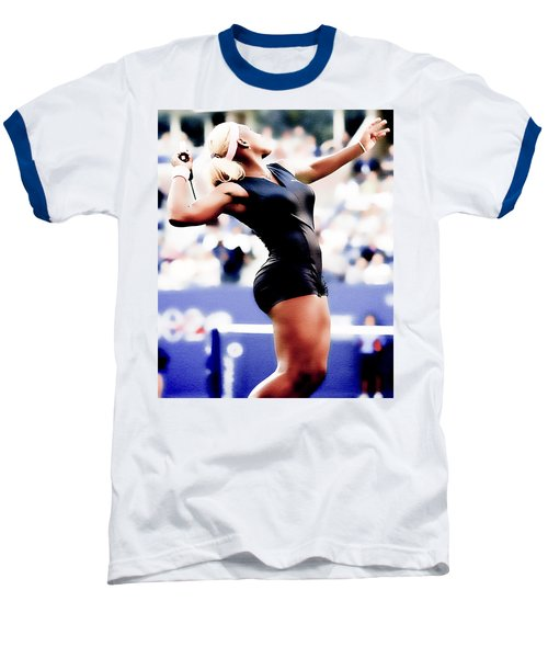Serena Williams Catsuit Baseball T-Shirt by Brian Reaves