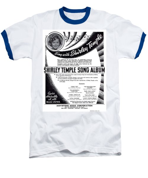 Shirley Temple Song Album Baseball T-Shirt by Mel Thompson