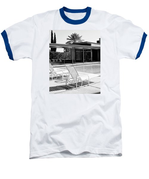 Sinatra Pool Bw Palm Springs Baseball T-Shirt by William Dey