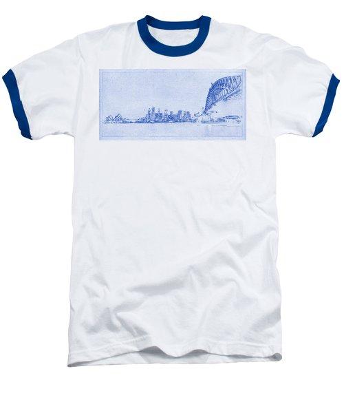 Sydney Skyline Blueprint Baseball T-Shirt by Kaleidoscopik Photography