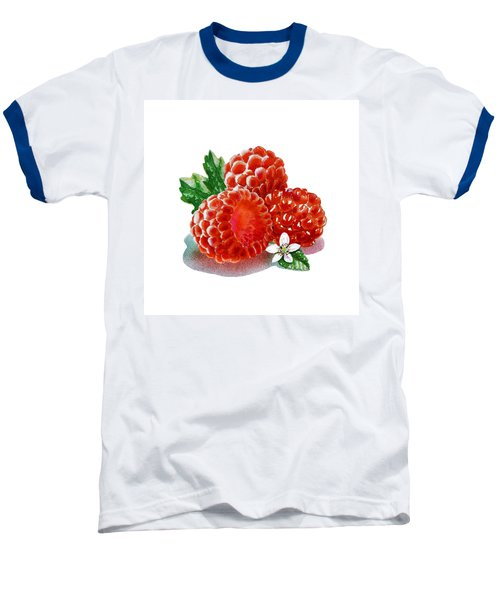 Three Happy Raspberries Baseball T-Shirt by Irina Sztukowski