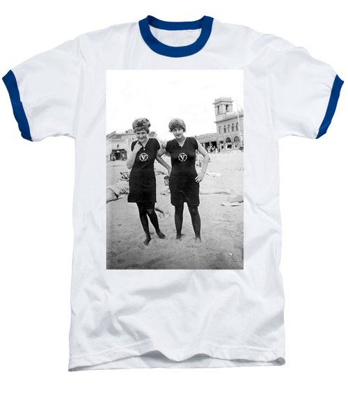 Two Girls At Venice Beach Baseball T-Shirt by Underwood Archives