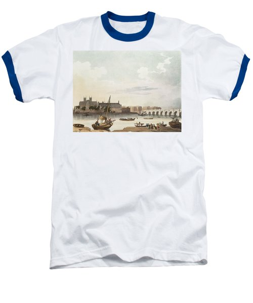 View Of Westminster And The Bridge Wc On Paper Baseball T-Shirt by English School