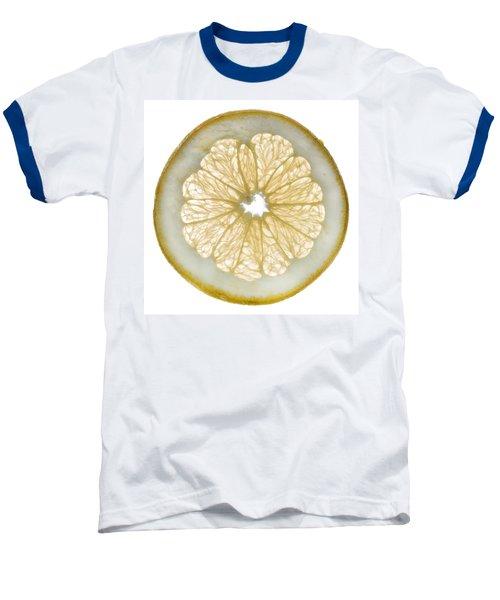 White Grapefruit Slice Baseball T-Shirt by Steve Gadomski