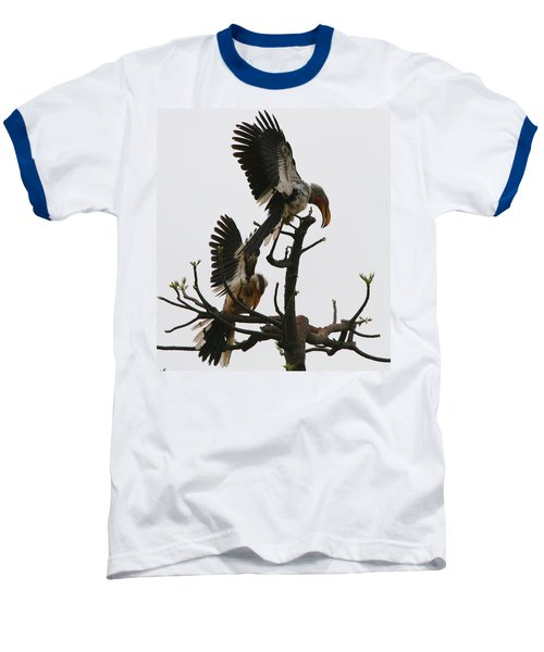 Hornbill Courtship Baseball T-Shirt by Bruce J Robinson