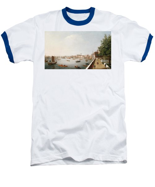 View Of The River Thames From The Adelphi Terrace  Baseball T-Shirt by William James