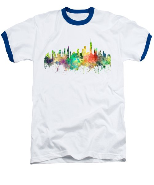 Chicago Illinois Skyline Baseball T-Shirt by Marlene Watson