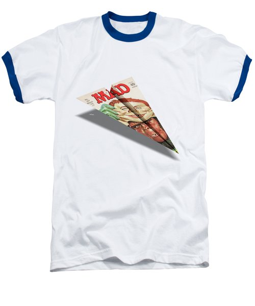 157 Mad Paper Airplane Baseball T-Shirt by YoPedro