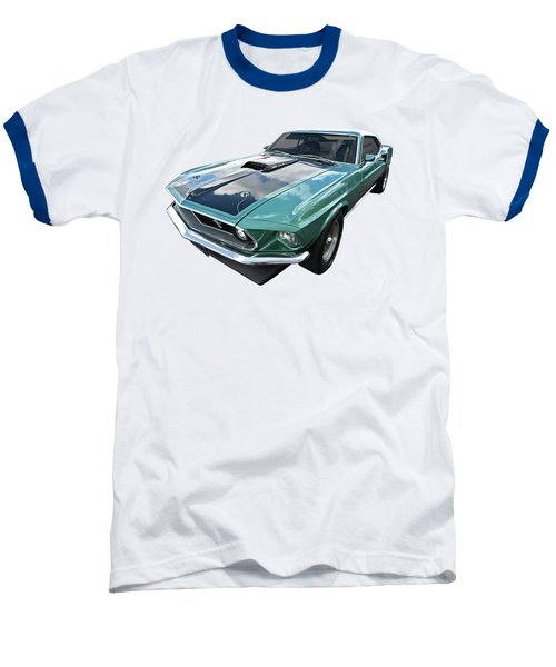 1969 Green 428 Mach 1 Cobra Jet Ford Mustang Baseball T-Shirt by Gill Billington