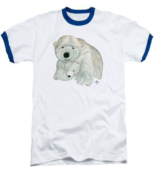 Cuddly Polar Bear Baseball T-Shirt by Angeles M Pomata