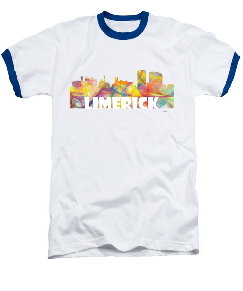 Limerick Ireland Skyline Baseball T-Shirt by Marlene Watson