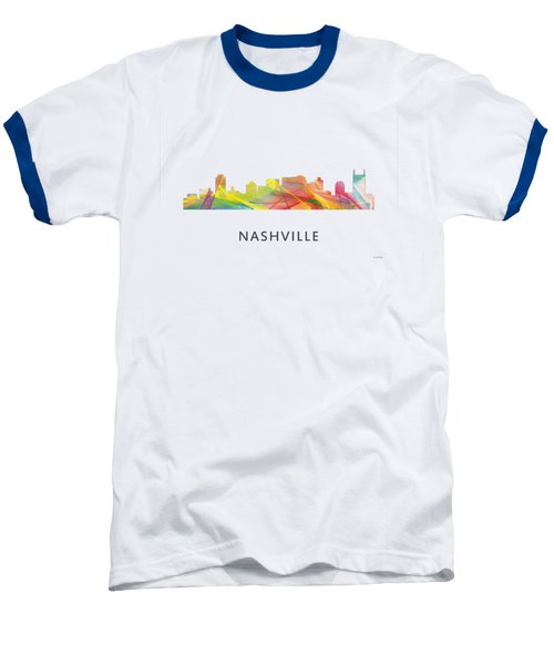 Nashville Tennessee Skyline Baseball T-Shirt by Marlene Watson