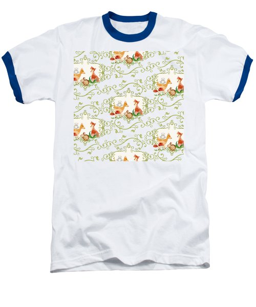 Woodland Fairytale - Animals Deer Owl Fox Bunny N Mushrooms Baseball T-Shirt by Audrey Jeanne Roberts