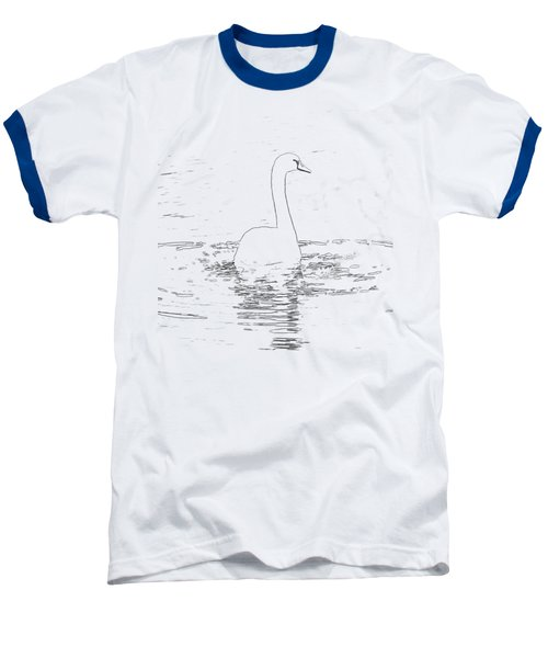 White Swan Swimming  Baseball T-Shirt by Humorous Quotes