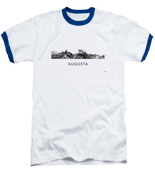 Augusta Maine Skyline Baseball T-Shirt by Marlene Watson
