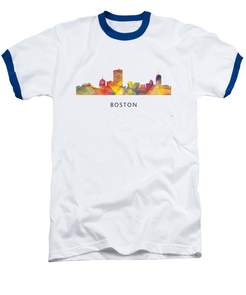 Boston Massachusetts Skyline Baseball T-Shirt by Marlene Watson
