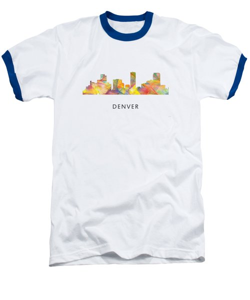 Dallas Texas Skyline Baseball T-Shirt by Marlene Watson