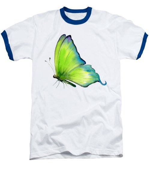 4 Skip Green Butterfly Baseball T-Shirt by Amy Kirkpatrick