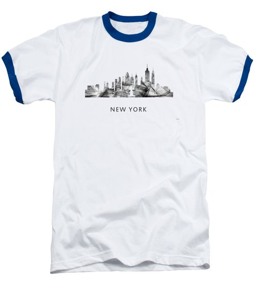 New York New York Skyline Baseball T-Shirt by Marlene Watson
