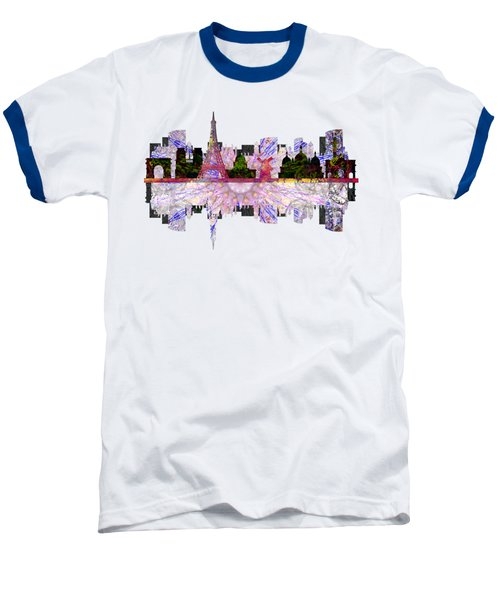 Paris France Fantasy Skyline Baseball T-Shirt by John Groves