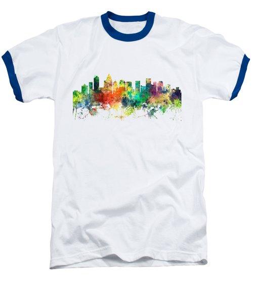 Charlotte Nc Skyline Baseball T-Shirt by Marlene Watson