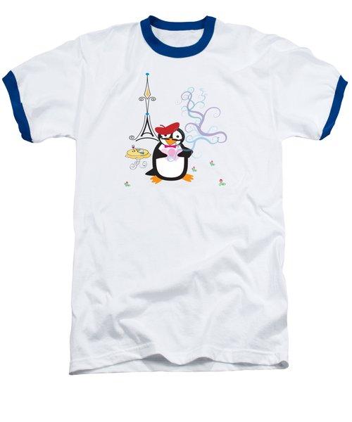 A Penguin In Paris Baseball T-Shirt by Jane E Rankin