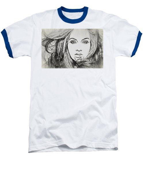 Adele Charcoal Sketch Baseball T-Shirt by Dan Sproul