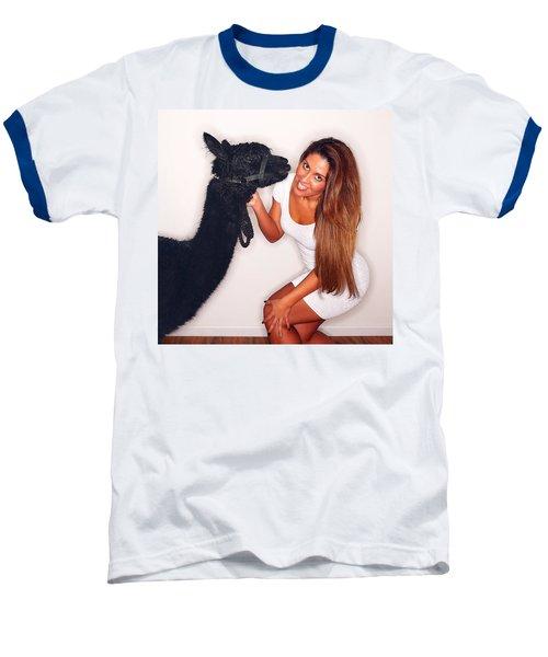 Alpaca Emily And Breanna Baseball T-Shirt by TC Morgan
