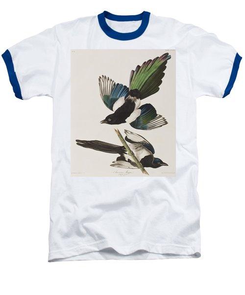 American Magpie Baseball T-Shirt by John James Audubon