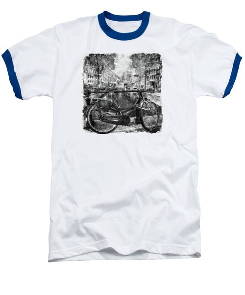 Amsterdam Bicycle Black And White Baseball T-Shirt by Marian Voicu