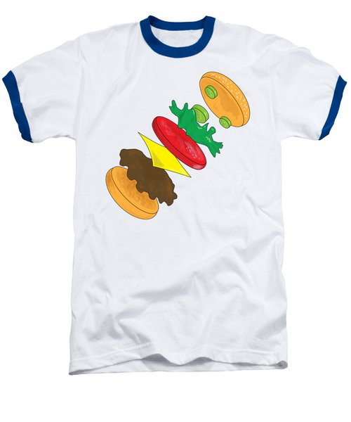 Anatomy Of Cheeseburger Baseball T-Shirt by Ben Shurts