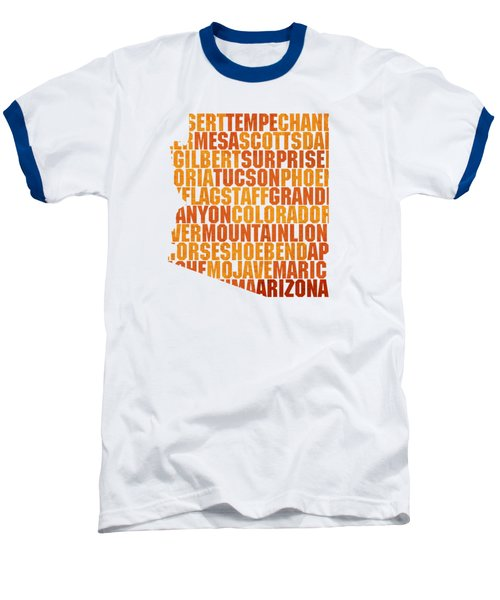 Arizona State Outline Word Map Baseball T-Shirt by Design Turnpike