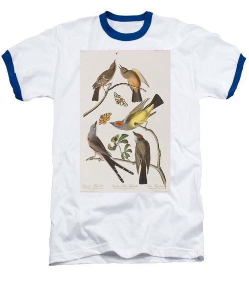 Arkansaw Flycatcher Swallow-tailed Flycatcher Says Flycatcher Baseball T-Shirt by John James Audubon