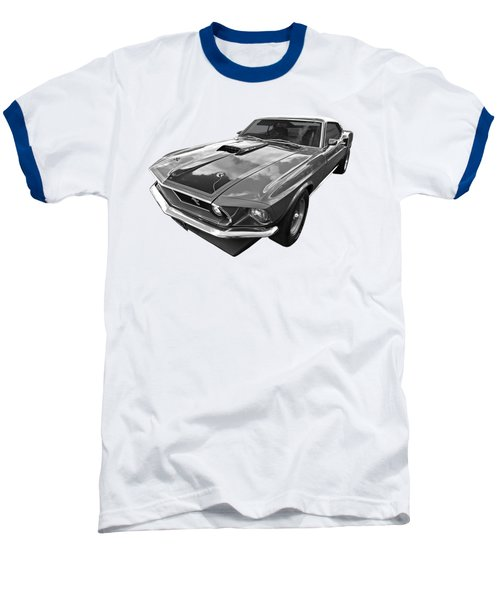 428 Cobra Jet Mach1 Ford Mustang 1969 In Black And White Baseball T-Shirt by Gill Billington