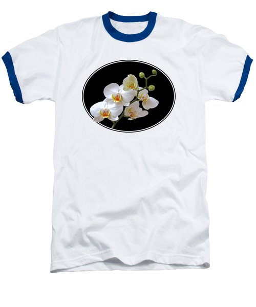 White Orchids On Ocean Blue Baseball T-Shirt by Gill Billington