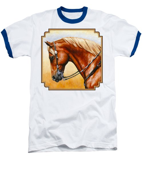 Precision - Horse Painting Baseball T-Shirt by Crista Forest