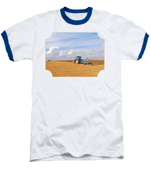 Ploughing After The Harvest Baseball T-Shirt by Gill Billington