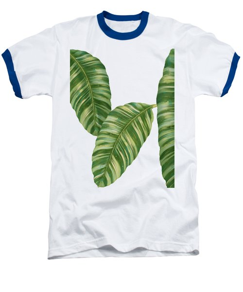 Rainforest Resort - Tropical Banana Leaf  Baseball T-Shirt by Audrey Jeanne Roberts