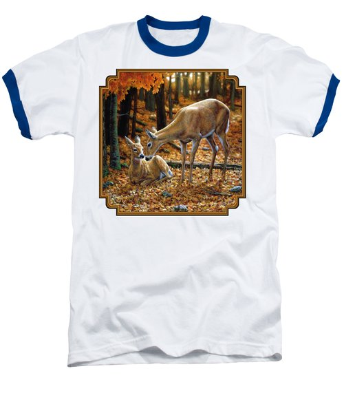 Whitetail Deer - Autumn Innocence 2 Baseball T-Shirt by Crista Forest